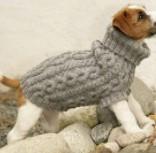 tricoter manteau chien : col et torsades