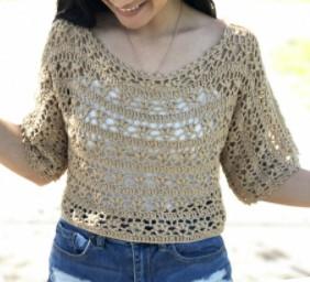 tricoter un top d'été au crochet et dentelles