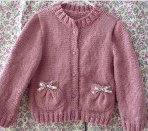 tricoter une veste enfants : les poches ballon