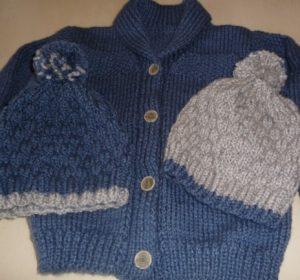 tricoter une veste enfant ; veste garçon et point de riz