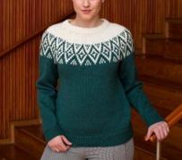 tricoter un pull jacquard femme motif danois